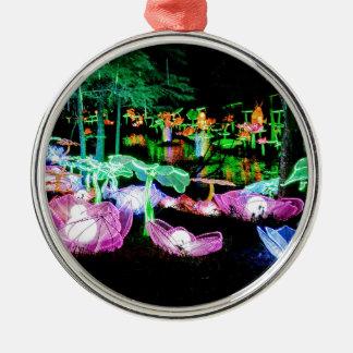 Wasser-Lilie leuchten Nachtphotographie Silbernes Ornament
