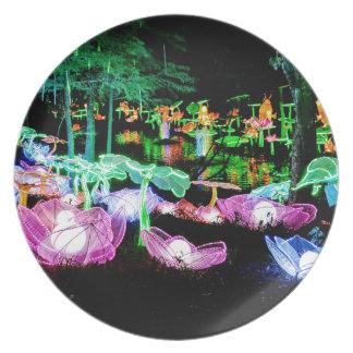 Wasser-Lilie leuchten Nachtphotographie Teller