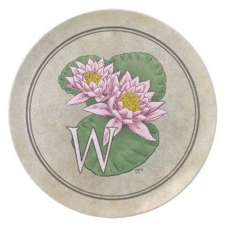 Wasser-Lilien-Blumen-Alphabet-Monogramm Teller