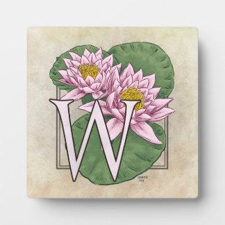 Wasser-Lilien-Blumen-Monogramm Fotoplatte