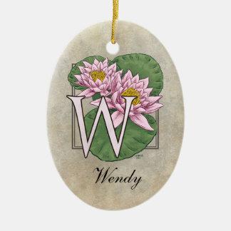 Wasser-Lilien-Blumen-Monogramm Keramik Ornament