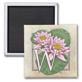 Wasser-Lilien-Blumen-Monogramm Quadratischer Magnet