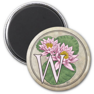 Wasser-Lilien-Blumen-Monogramm Runder Magnet 5,1 Cm