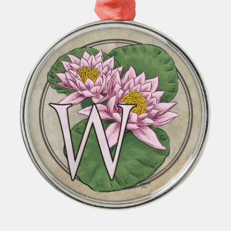 Wasser-Lilien-Blumen-Monogramm Silbernes Ornament