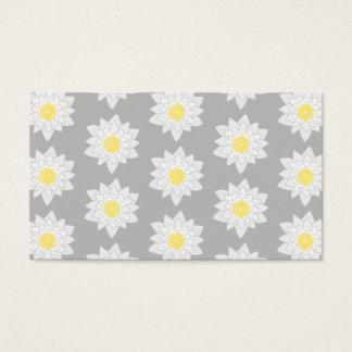 Wasser-Lilien-Blumen. Weiß, Gelb und Grau Visitenkarte