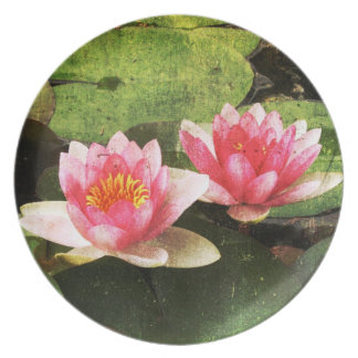 Wasser-Lilien-Melamin-Platte Teller