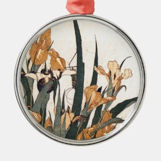 Wasser-Lilien Rundes Silberfarbenes Ornament