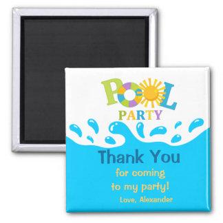 Wasser-Spritzen-Pool-Party-Junge danken Ihnen Quadratischer Magnet