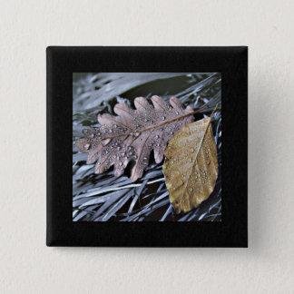Wasser-Tropfen auf Herbst-Blätter - Knopf Quadratischer Button 5,1 Cm