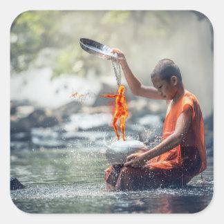 Wasser und Feuer Quadratischer Aufkleber