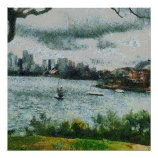 Wasser und Landschaft Poster
