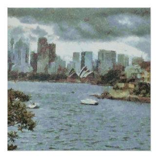 Wasser und Skyline Poster
