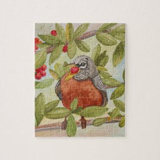 Wasser von rotem Robin rote Beeren essend Puzzle
