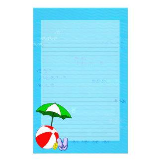 Wasserball-Pool-Regenschirm gezeichnetes Briefpapier