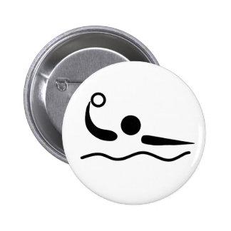 Wasserball Waterpolo Piktogramm Runder Button 5,7 Cm