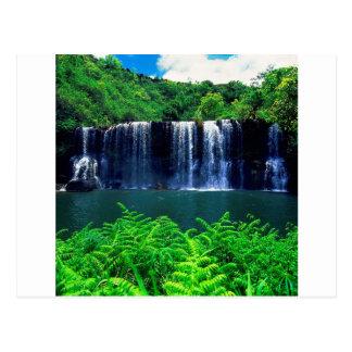 Wasserfall abgelegenes Kauai Postkarte
