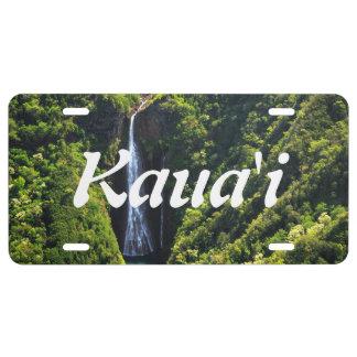 Wasserfall auf der Insel von Kauai, Hawaii US Nummernschild