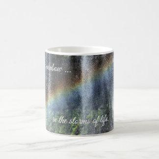 Wasserfall-Regenbogen verwandeln magische Tasse