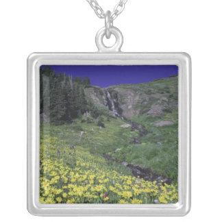 Wasserfall und Wildblumen in der alpinen Wiese, 3 Versilberte Kette