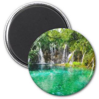 Wasserfälle an Plitvice Nationalpark in Kroatien Runder Magnet 5,1 Cm