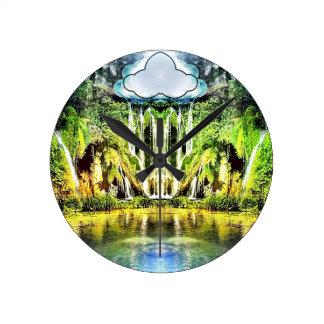 Wasserfälle von der Wolke Runde Wanduhr
