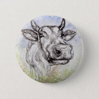 Wasserfarbe-bunt Kuh, Abzeichen/Button Runder Button 5,7 Cm