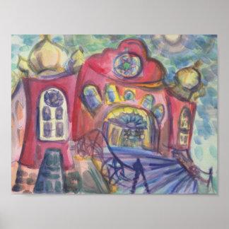 Wasserfarbe, die alte Synagoge Ottawas jüdisch Poster