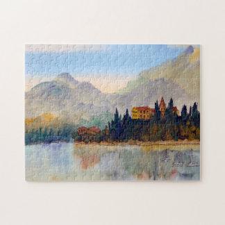 Wasserfarbe-Landscapesee Como Italien Laubsäge Puzzle