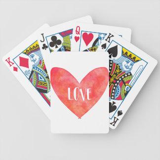 Wasserfarbe-Liebe-Herz-Typografie Bicycle Spielkarten