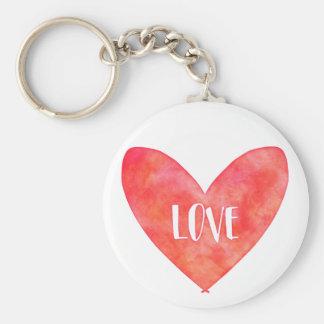 Wasserfarbe-Liebe-Herz-Typografie Schlüsselanhänger