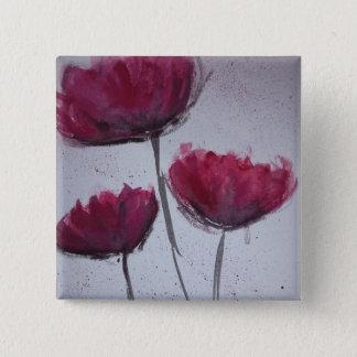 Wasserfarbe-Mohnblumen-Abzeichen Quadratischer Button 5,1 Cm