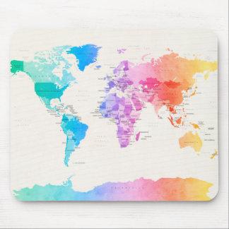 Wasserfarbe-politische Karte der Welt Mauspad