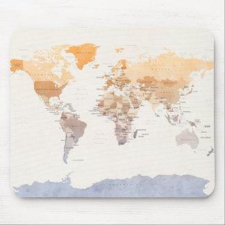 Wasserfarbe-politische Karte der Welt Mauspads