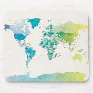Wasserfarbe-politische Karte der Welt Mousepad