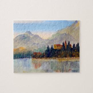 Wasserfarbe von See Como Italien Laubsäge Puzzle