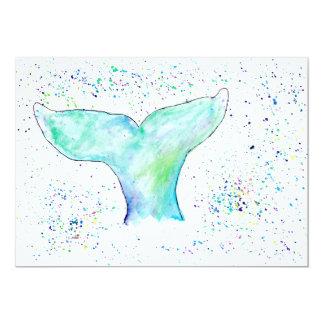 Wasserfarbe-Wal-Schwanz-Einladung Karte