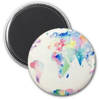 WasserfarbWeltkarte Runder Magnet 5,1 Cm