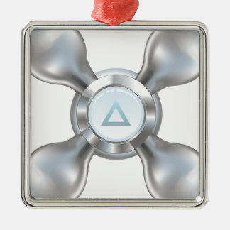 Wasserhahn Quadratisches Silberfarbenes Ornament