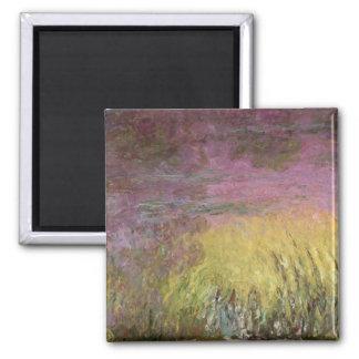Wasserlilie-Sonnenuntergang Claudes Monet  , Quadratischer Magnet
