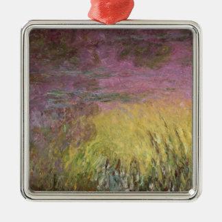 Wasserlilie-Sonnenuntergang Claudes Monet  , Quadratisches Silberfarbenes Ornament
