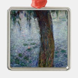 Wasserlilie-weinende Weiden Claudes Monet   nach Quadratisches Silberfarbenes Ornament