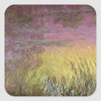 Wasserlilien Claudes Monet | am Sonnenuntergang Quadratischer Aufkleber
