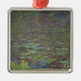 Wasserlilien Claudes Monet   am Sonnenuntergang Quadratisches Silberfarbenes Ornament
