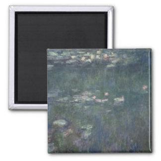 Wasserlilien Claudes Monet  : Grüne Reflexionen Quadratischer Magnet