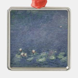 Wasserlilien Claudes Monet  : Morgen, 1914-18 Quadratisches Silberfarbenes Ornament