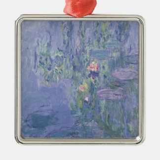 Wasserlilien Claudes Monet   Quadratisches Silberfarbenes Ornament