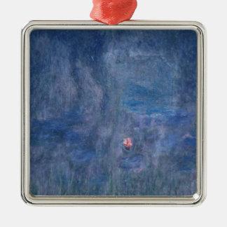Wasserlilien Claudes Monet  : Reflexionen der Quadratisches Silberfarbenes Ornament