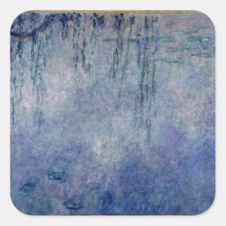 Wasserlilien Claudes Monet |: Weinende Weiden Quadratischer Aufkleber