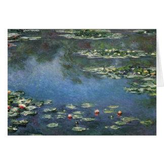 Wasserlilien durch Claude Monet, Vintage Blumen Karte