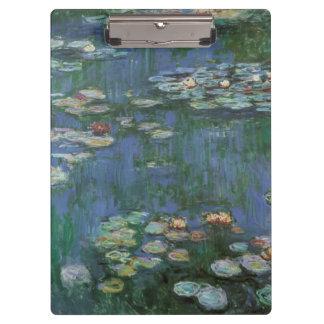 Wasserlilien durch Claude Monet, Vintage Blumen Klemmbrett